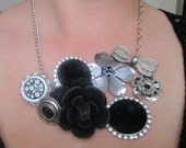 Repurposed Silver, Black, And Rhinestone Statement Necklace