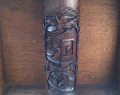 Antique Asian bamboo brush holder hand carved tall large oriental circa 1910's / English Shop