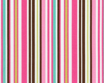 """1 Yard  30"""" of Brown and Pink Crazy for Dots and Stripes by RJR Fabrics LAST ONE"""