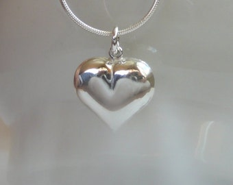 Sterling silver heart necklace - Sterling silver heart pendant on a Sterling silver chain - I love you gift - Free shipping to Canada & USA