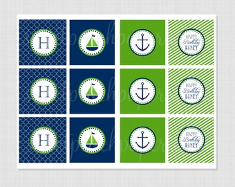 Preppy Nautical Collection: Printable Cupcake Toppers