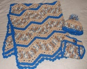 Hand Crochet Baby Afghan Blanket Diaper Cover and Hat