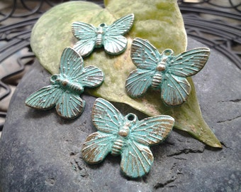 6pcs - Handmade Faux Verdigris Patina Butterfly Metal Charms - 18x15mm
