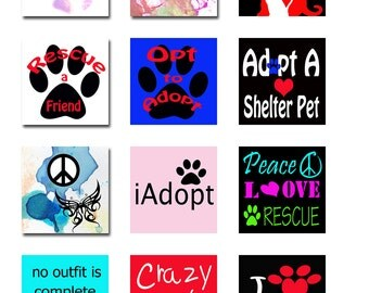 Shelter Rescue Pets Square and Round Instant Download 5 Pages of Sizes Digital Images JPEG (13-10)