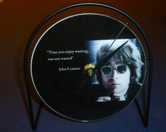 John Lennon Time Not Wasted Recycled CD Clock Art