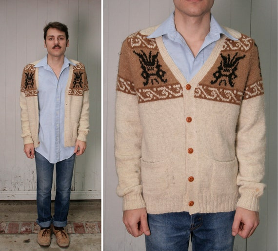 Vintage 70s Alpaca Wool Cardigan Sweater Leather Elbow Patches