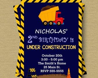 Dump Truck Invitation Birthday