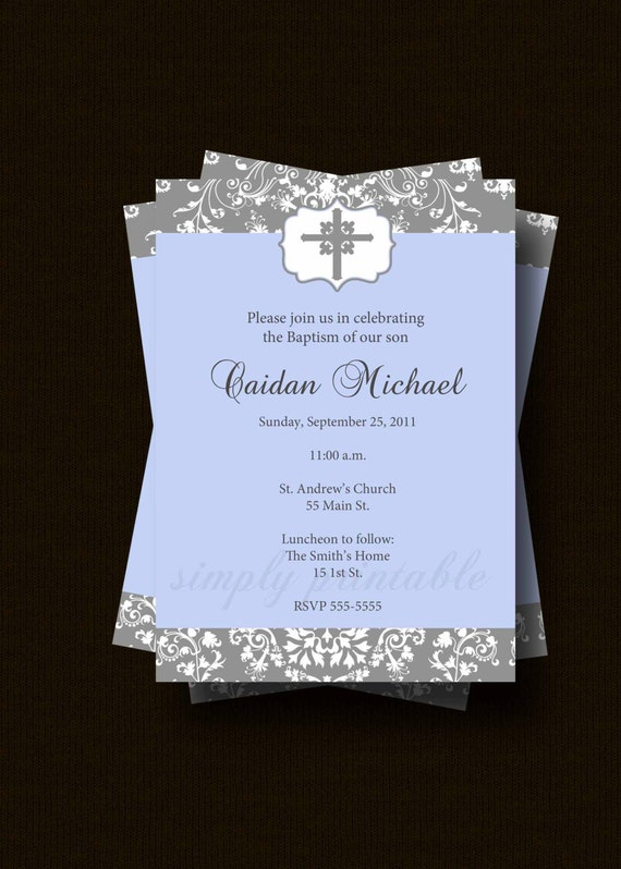 Boy Baptism Invitation Printable