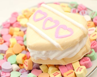 Heart soap cookie sandwich - Valentine soap food soap - white chocolate raspberry