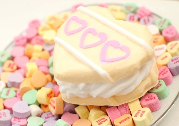 Cookie soap heart sandwich - Valentine's day soap - food soap - white ...