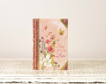 Pink Ring Bearer Book with Butterfly and Flower Details - Live Laugh Love - Book Themed Wedding