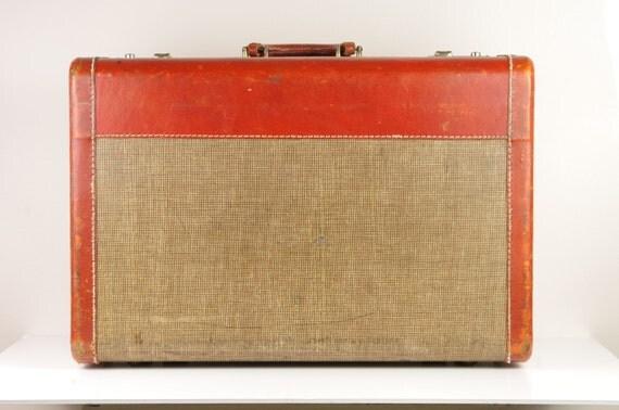 Vintage Orange and Tan Suitcase for Wedding Reception