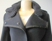 Reserved for Livia ELIE TAHARI blue pure wool artsy womens medium coat with leaf decorations on collar and epaulets