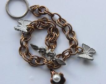 Childrens Teen Girls Vintage Antique Butterfly Charm Flower Girl Bracelet