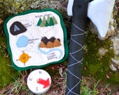 Kids Handmade Felt Toy With Hatchet and Compass and Hiking Map