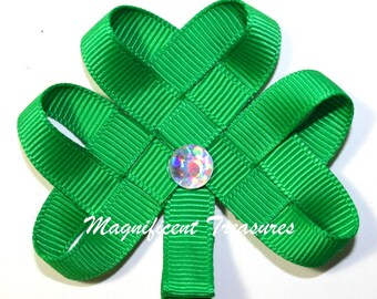 Woven Shamrock Hair Clip, Pin or Headband in Regular Size and Mini Size