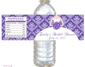 Printable Personalized Purple Damask Bridal Shower Water Bottle Label Wrappers - Bouquet Bride Birthday Party Quinceanera Sweet 16 Wraps