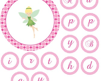 Fairy Birthday Banner - Happy Birthday Green Pixie Pink Polka Dot Circles Printable Party Decoration INSTANT DOWNLOAD