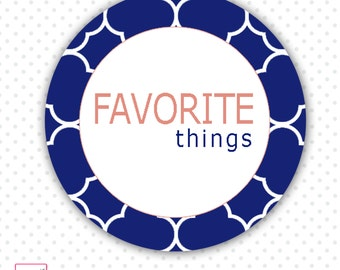 INSTANT DOWNLOAD Favorite Things Night Get Together Party Tags - Blue White Orange Design Party Favors Party Decorations Party Stickers