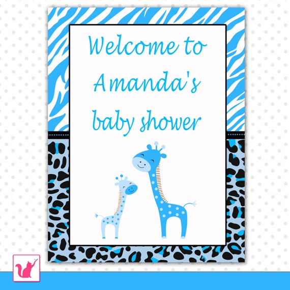 baby shower welcome sign zebra leopard background also birthday boy
