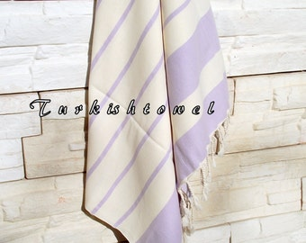 NEW-Turkishtowel-High Quality,Hand Woven,Natural,Organic,Cotton Bath,Beach,Spa,Yoga,Travel Towel or Sarong-Cream,Wisteria