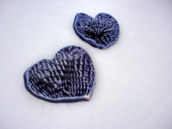 Pottery heart favours in indigo blue ring bowl customizable in your color