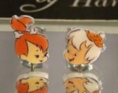 Pebbles and Bam Bam Cartoon Nostaligia Stud Earrings - surgical steel