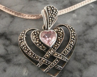 Pink Topaz Sterling Heart Necklace