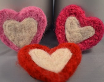 Heart Ponytail Holders Needle Felted Pink Magenta Red White