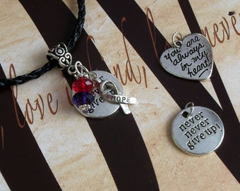 Chronic Migraine Awareness 'Never Never Give Up' or 'You Are Always In My Heart' Charm Pendant
