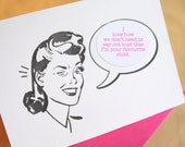 Mother's Day card funny mothers day card Retro Girl Mad Men letterpress sticker card choose from a selection of witty phrases & personalise