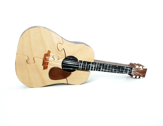 Acoustic guitar puzzle and decor by berkshirebowls on etsy for Acoustic guitar decoration ideas