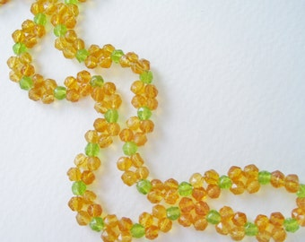 SALE 20 PERCENT OFF Vintage Woven Clear Light Green Marigold Yellow Orange Fruit Salad Faceted Glass Bead Beaded Necklace