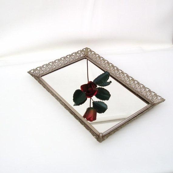 Mirrored vanity tray perfume tray makeup organizer filigree for Mirrored bathroom tray