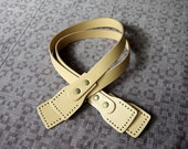 24 inch Beige Real Leather Bag Straps Bag Handles Punch Hole Ready