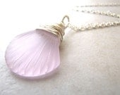 Seashell Necklace, Sea Shell Necklace, Sea Glass Necklace, Seaglass Necklace, Pink Seaglass, Beach Jewelry, Wire Wrapped