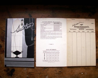 Vintage Art Deco Silver Bridge Tally Books - Advertising for Chicago Undertakers