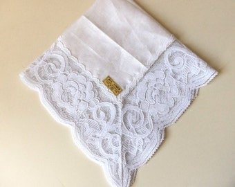 Vintage Lace Bridal Handkerchief, Wedding Accessory, Eco Friendly Linen, Something Old, Made in Hong Kong, Gift Idea:   BBD-811