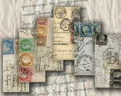 French Stamps Paris Postmarks Handwriting 1x2 inch for Domino Tiles Jewelry Bezels Pendant Decoupage Digital Collage Sheet Download 129