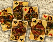 Antique Playing Cards Kings Queens Jacks Decoupage DIY Craft Tags Journaling Digital Collage Sheet Printable Instant Download 026