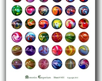 Marbles Digital Collage Sheet Circles Rounds One 1 Inch for Decoupage Jewelry Supplies Bezels Scrapbooking Printable Instant Download 401