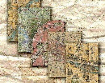 Paris Street Maps Shabby Chic ATC ACEO Decoupage Journal Backgrounds French Tourist Digital Collage Sheet Download 244