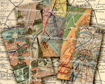 Paris Maps 1 x 3 inches Microslide Pendant Jewelry Bezels Street Tourist Sightsee Digital Collage Sheet Printable Download 176