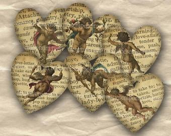 Cupid Love Valentine Endearments Hearts Engravings Tokens Journaling Digital Collage Sheet Instant Download DIY 065