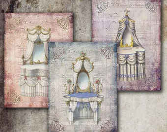 French Shabby Chic Boudoir Bedroom Antique Dressing Tables Decoupage ACEO ATC Furniture Digital Collage Sheet Printable Download 209