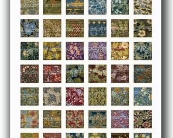 Art Nouveau Squares One Inch Decoupage Jewelry Inchies Bezels Pendant Scrabble Tiles Magnet Printable Digital Collage Sheet Download 301