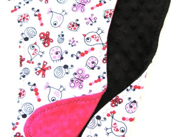 Pink and Black Burp Cloths - Birdies, Butterflies and Ladybugs