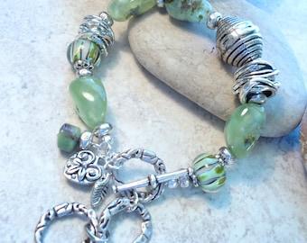 Green Semi- precious Stone and Lampwork Bracelet, Heavy Textured Silver Bracelet