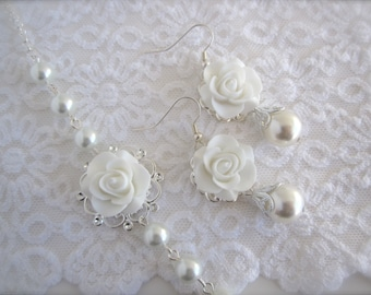 White earrings flower Earrings white rose Earrings Bridal jewelry Bridesmaid gift Wedding Jewelry Gift  for her vintage style