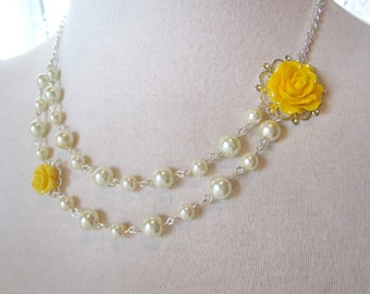 Bridesmaids Necklace - Yellow flower Asymmetrical Pearls Necklace Ivory pearls Multi Strand Jewelry Victorian shabby chic vintage style
